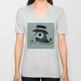 Plague doctor please wash your hands sign Unisex V-Neck