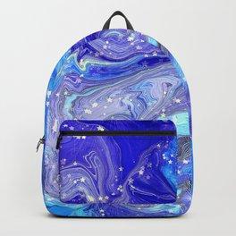 Blue, Lilac, Aqua Liquid Marble With Glitter Stars Backpack