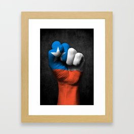 Chilean Flag on a Raised Clenched Fist Framed Art Print