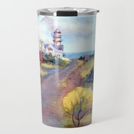Lighthouse at Two Lights, Cape Elizabeth, Maine. From watercolor painting by Pamela Parsons. Travel Mug