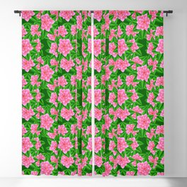 Ice Pink Camellias and Green Leaves Blackout Curtain