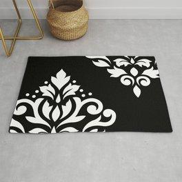 Scroll Damask Art I White on Black Rug