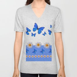 BABY BLUE MODERN ART BLUE BUTTERFLIES & WHITE DAISIES Unisex V-Neck