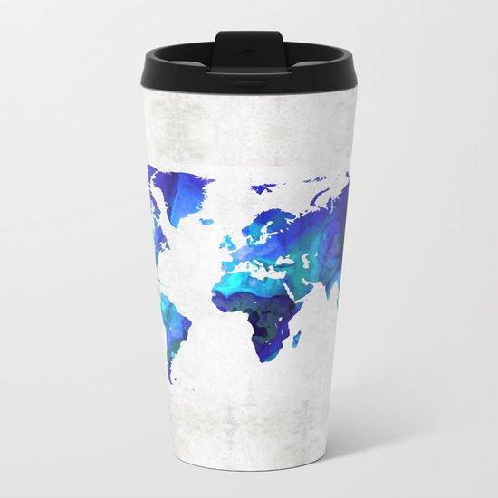 World Map 17 - Blue Art By Sharon Cummings Metal Travel Mug
