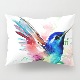 Hummingbird , Blue Turquoise Pink Pillow Sham