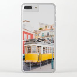 Yellow Tram in Lisbon Clear iPhone Case