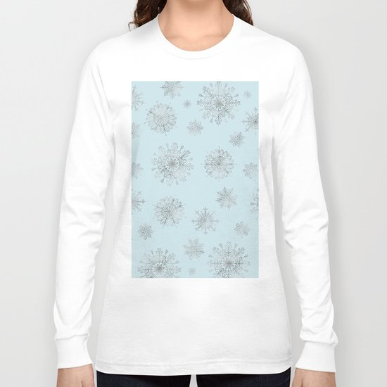 Assorted Silver Snowflakes On Light Blue Background Long Sleeve T-shirt