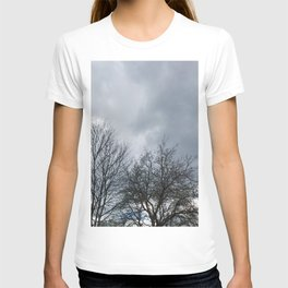 Winter Sky, Cloudy Winter Sky, Beautiful Clouds and Trees T-shirt