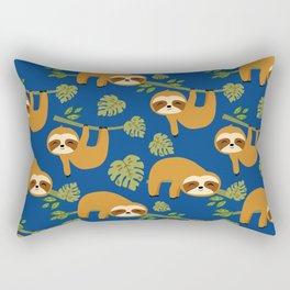 Cute Sloths on Blue, Baby Sloth Hanging Rectangular Pillow