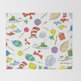 dr seuss pattern..  cat in the hat, lorax, oh the places you'll go,  Throw Blanket