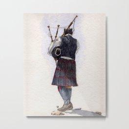 Bag Piper on Maine Beach Metal Print