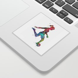 Girl Soccer Player Watercolor Print Sports Print Soccer Player Poster Sticker