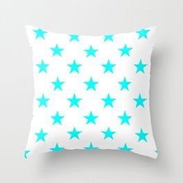 Stars (Aqua Cyan/White) Throw Pillow