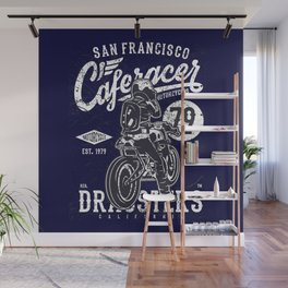Caferacer Vintage Motorcycle Typography Wall Mural