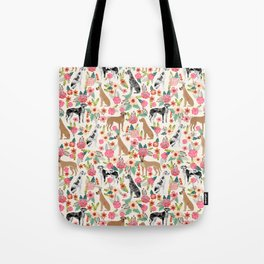 Great Dane floral dog breed pet friendly pet pattern great danes pure breed Tote Bag