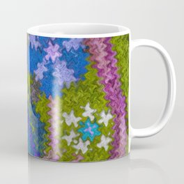 Starry Floral Felted Wool, Moss Green and Violet Coffee Mug