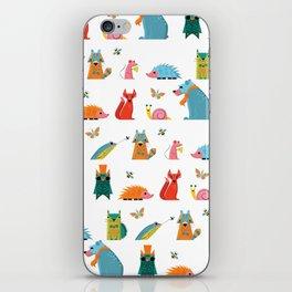 Scandinavian woodland animals pattern print iPhone Skin