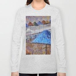 Beach Umbrellas In Impressionist Style Long Sleeve T-shirt