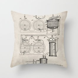 Brewery Patent - Beer Art - Antique Throw Pillow