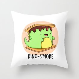 Dinosmore Cute Smore Dinosaur Pun Throw Pillow