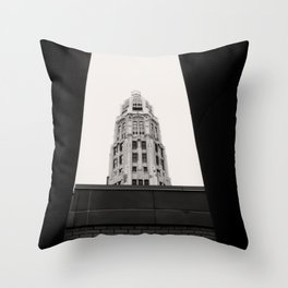 Mather Tower Building Top Chicago Black and White Photo Throw Pillow