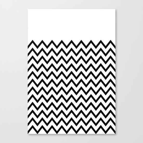 Black Chevron On White Canvas Print