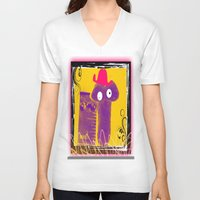 penis V-neck T-shirts featuring TOO CUTE FUNNY PENIS SHAPED CHEESE PUFF by ZAPPERART