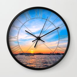 Sunset in a white night Wall Clock
