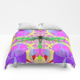 Emerald Green Dragonfly Pink Abstract Comforters