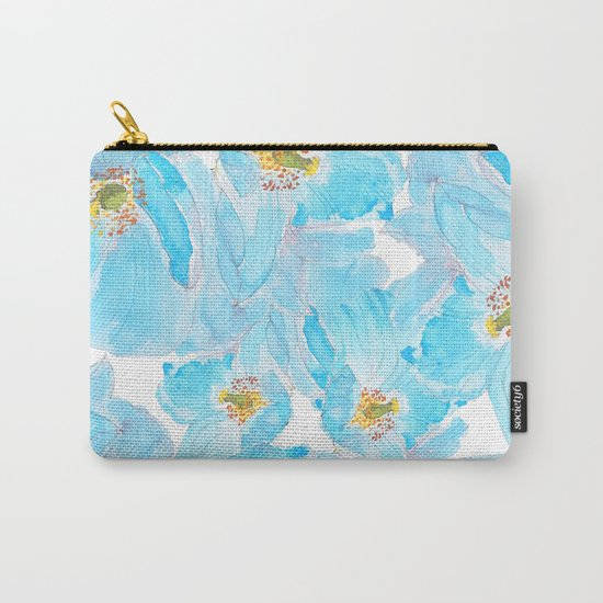 blue poppy pattern Carry-All Pouch