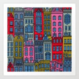 New York Brownstones Bright Multicolor Art Print