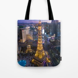 Aerial view of the Eiffel tower in Las Vegas Tote Bag
