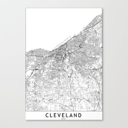 Cleveland White Map Canvas Print