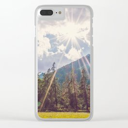 Panoramic time lapse of a forest in a very cloudy day Clear iPhone Case