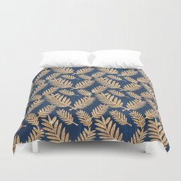 Modern navy blue faux gold glitter tropical floral Duvet Cover