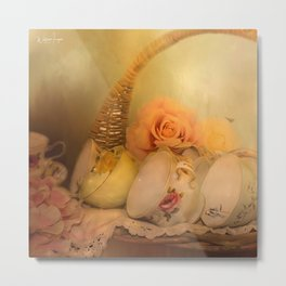 Teacups and Roses 3 Metal Print