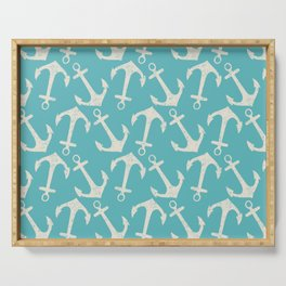 Maritime Nautical Aqua and White Anchor Pattern Serving Tray