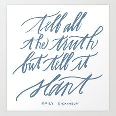 Emily Dickinson (Calligraphy) Art Print