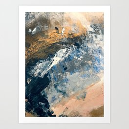 Wander [3]: a vibrant, colorful abstract in blues, pink, white, and gold Art Print