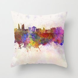 Baku skyline in watercolor background Throw Pillow