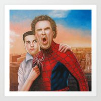 will ferrell Art Prints featuring Will Ferrell as spider man along with Tobey Maguire as Jane by Nobilified