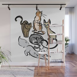 Sketch Cats Wall Mural