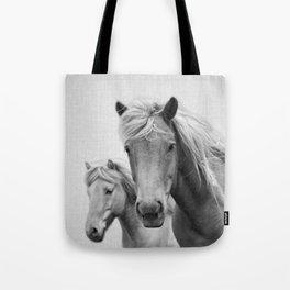 Horses - Black & White Tote Bag