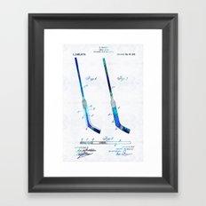 Blue Hockey Stick Art Patent - Sharon Cummings Framed Art Print
