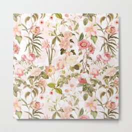 Vintage & Shabby Chic - Pink Sepia Summer Flowers Metal Print