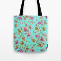aelwen Tote Bags featuring beach roses mint by Ariadne