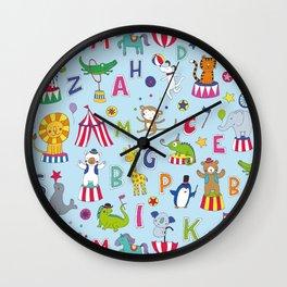 Circus Animal Alphabet - multi on pale blue Wall Clock