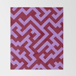 Lavender Violet and Burgundy Red Diagonal Labyrinth Throw Blanket