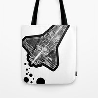 ufo Tote Bags featuring UFO by MAKE ME SOME ART
