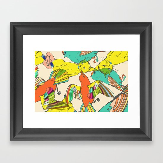 CATS AND BIRDS Framed Art Print